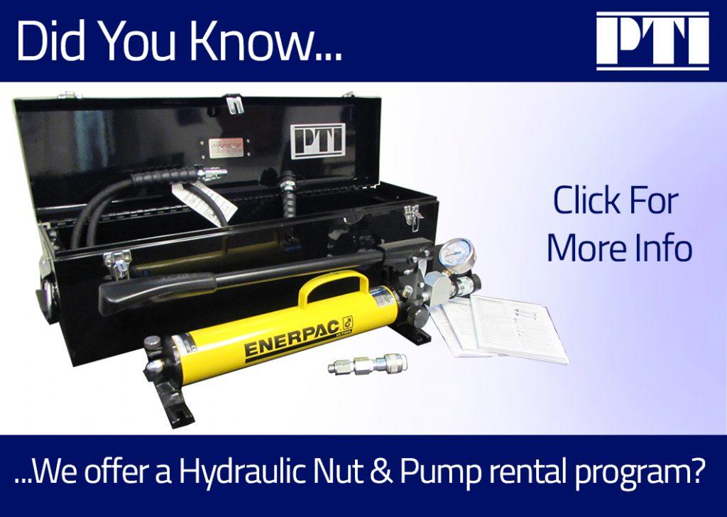 For Rent: Hydraulic Nut & Pump