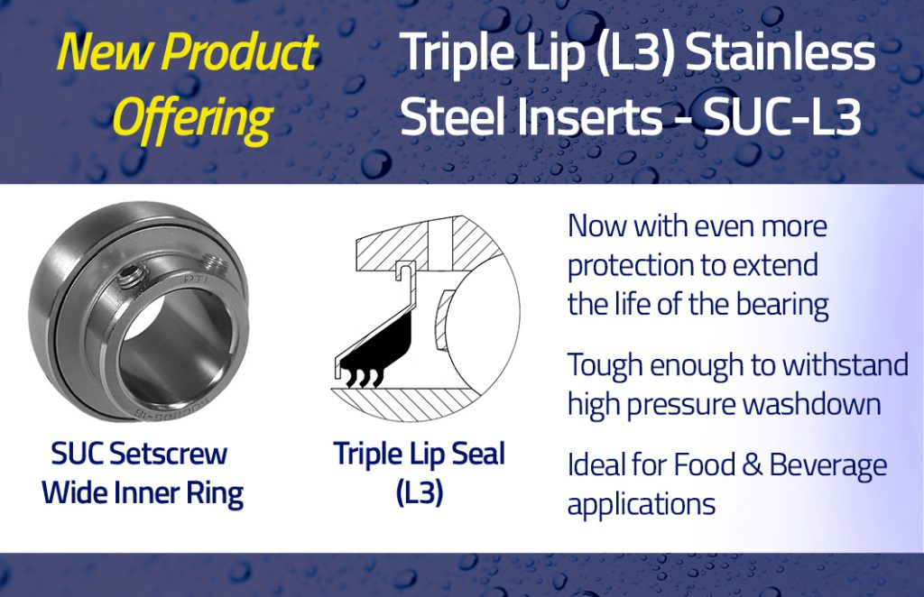 Triple Lip Seals (L3) Now Available for Corrosion Resistant Housed Bearings